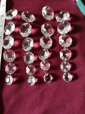 Vintage faceted crystal chandelier drops