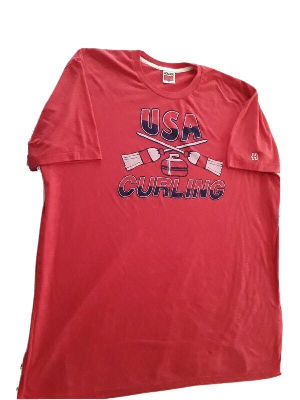 Homage USA Curling XXL Tee Shirt Olympics Etc