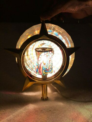 Bradford Christmas Tree Topper Top Nativity Moving Electric Motion Gold Star