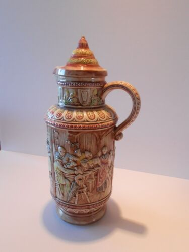 Holland Mold Hand-Painted Ceramic Beer Pitcher with Lid, 1972