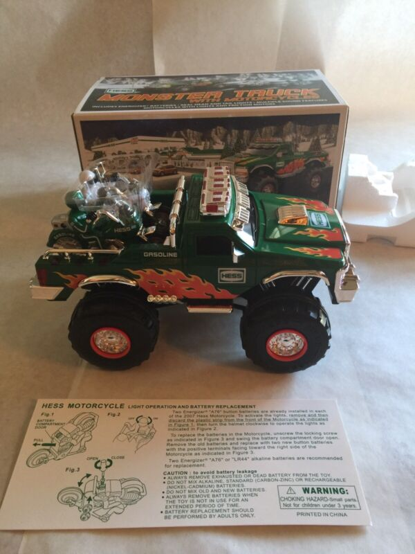 2007 HESS  MONSTER TRUCK W CYCLES MIB WORKS GREAT