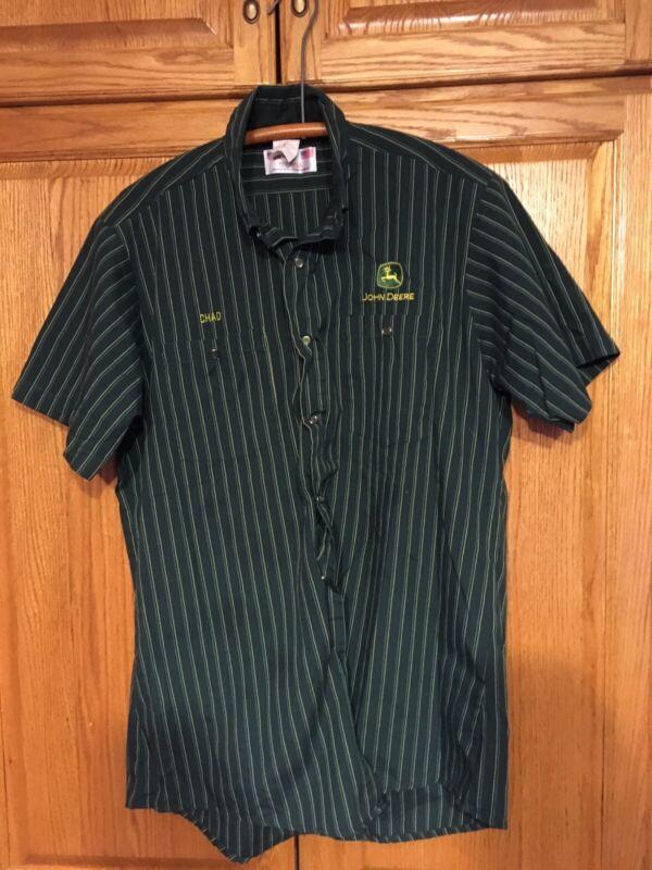 John Deere Dealer Uniform Button Down Shirt Large Made In The USA