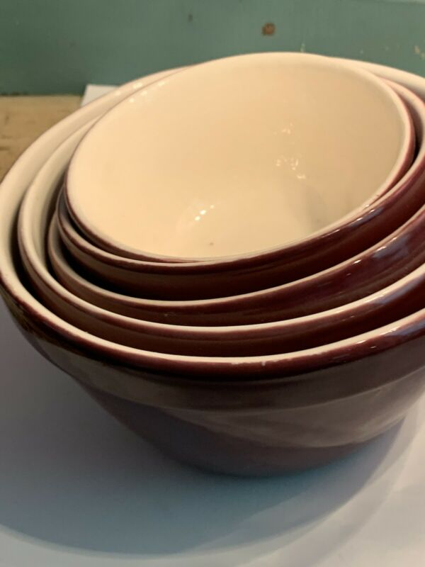 MCM Vintage Nesting Bowls Brown Glass Set Of 5 - Unbranded Great Condition