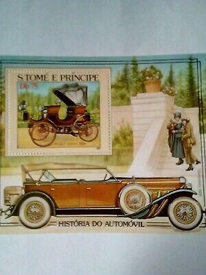 T012 Philatélie VOITURE CAR HISTOIRE DE L'AUTOMOBILE S TOME E PRINCIPE Dentelé
