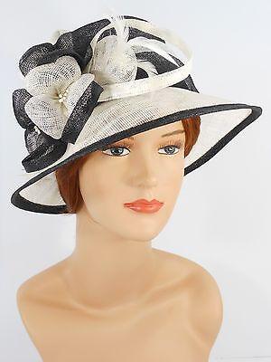 New Woman Church Derby Wedding Party Sinamay Dress Hat 7045 Black & Ivory