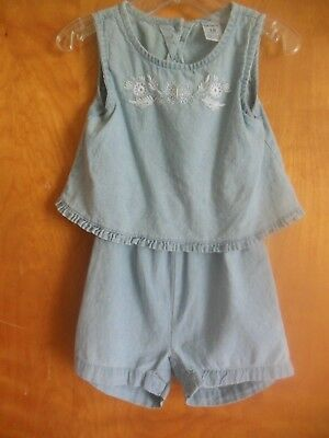 Cute Toddler Girls (Carters Toddler Girls Open Back 1pc Outfit, New, Blue w/White Embroidery,)
