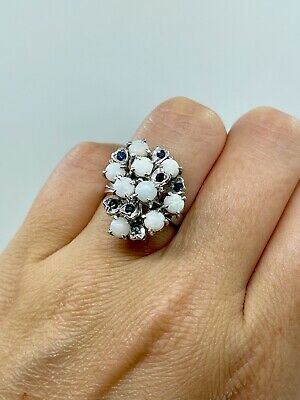 1940s Jewelry Styles and History Thai Princess Harem Sterling Silver Sapphire Opal Ring SZ 6 1/2 1940's Vintage $185.00 AT vintagedancer.com