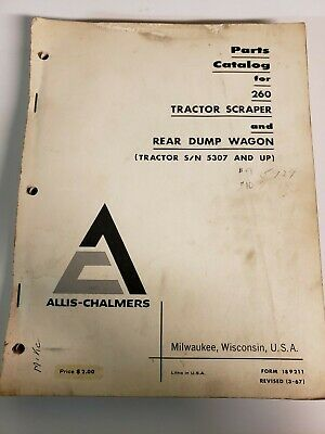 Allis Chalmers 260 Tractor Scraper Rear Dump Wagon Original Parts Manual Catalog
