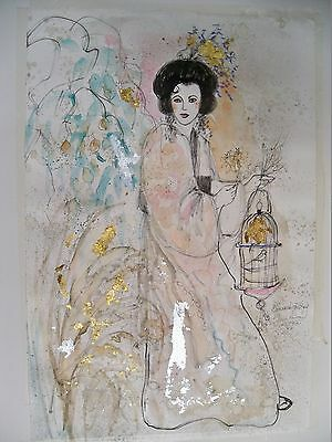 ANNA SANDHU RAY WATERCOLOR BEAUTIFUL WOMAN & BIRD CAGE  SIGNED 1992 UNFRAMED
