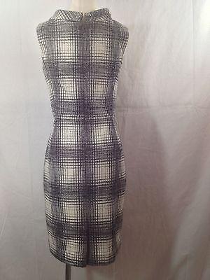 Oscar de la Renta PF12 plaids boucle wool alpaca tweed sheath dress size 6 S M