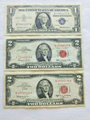 Lot of 3 US Notes Crisp AU Incl 1957 $1 Silver Cert, 1963 & 1963A $2 Red Seals