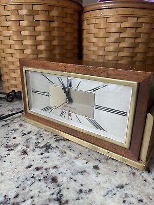 Vintage Seth Thomas Baxter 2E Hard-Wood, Brass Shelf Mantle Desk Bedside Clock