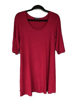 Eileen Fisher Women's Size Large Raspberry Red 3/4 Sleeve Tunic Dress Top Blouse