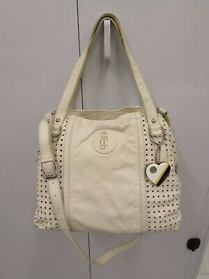 - Juicy Couture Pippa-Punched Up White Cow Leather Satchel Handbag/Shoulder Bag