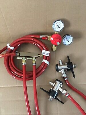 Beer Keg Kit 2 Tap Faucet Regulator Micromatic Distributor Perlick Hose Coupler