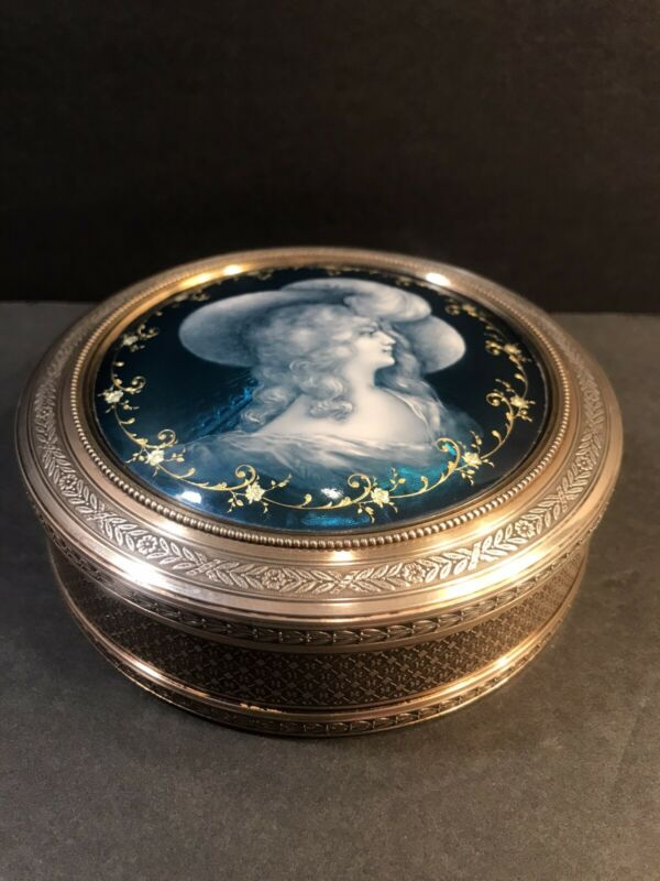 Antique French Sterling Silver And Enamel Dresser Box/ Trinket/ Gold Wash/C.1870