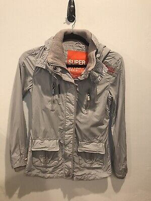 Superdry Womens Lite Checkpoint Military Hooded Jacket Army Khaki Size Large
