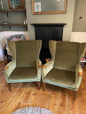 Pair of Vintage Parker Knoll PK 960 Wing Back  Fireside Armchairs