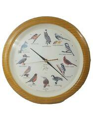 NATIONAL AUDUBON SOCIETY Quartz 12 Singing Birds Clock Faux Oak Wood 13 1/4''