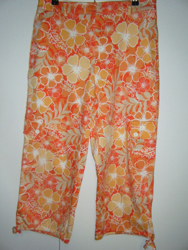 WOMENS WILLIE SMITH SIZE 8 ORANGE WHITE TAN COTTON SPANDEX CAPRI WORN TWICE