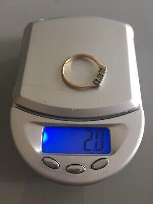 Vintage 9ct 9k Gold Platinum Diamond Trilogy Ring Size N 1/2