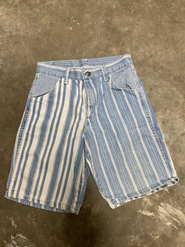 VINTAGE Wrangler Striped Denim Girls Shorts Blue/White Made In USA Size 10
