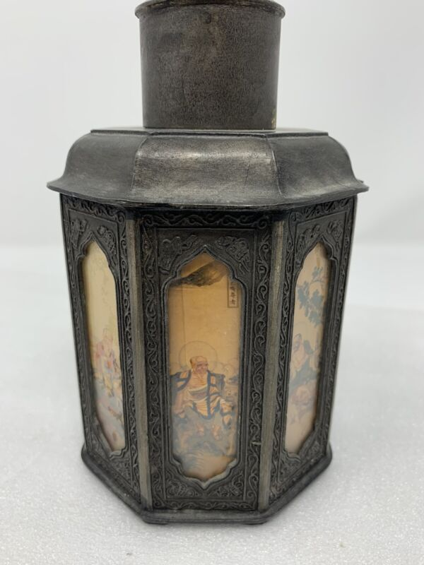 Vintage Chinese Eight Sided Glass Panels Pewter Tea Caddy