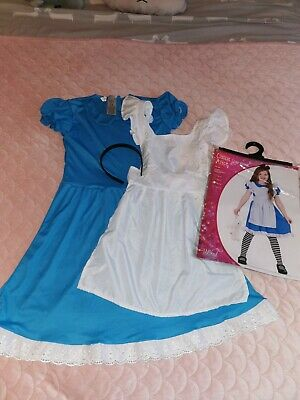 Alice in Wonderland Girls Fancy Dress Costume Kids Halloween Day Age 8-10