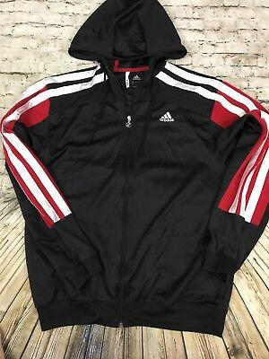 - Adidas Climacool Full Zip Jacket Size LARGE Black Red White 3 Stripes Hoodie
