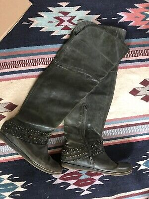 Womens Italian Leather Over the Knee Boots Olive Green Size 8.5 Tall boot. Zip