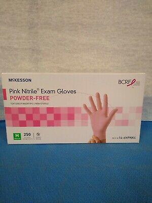 Mckesson 14-6npnk4 Pink Nitrile Exam Gloves Powder-free Medium 250 Gloves