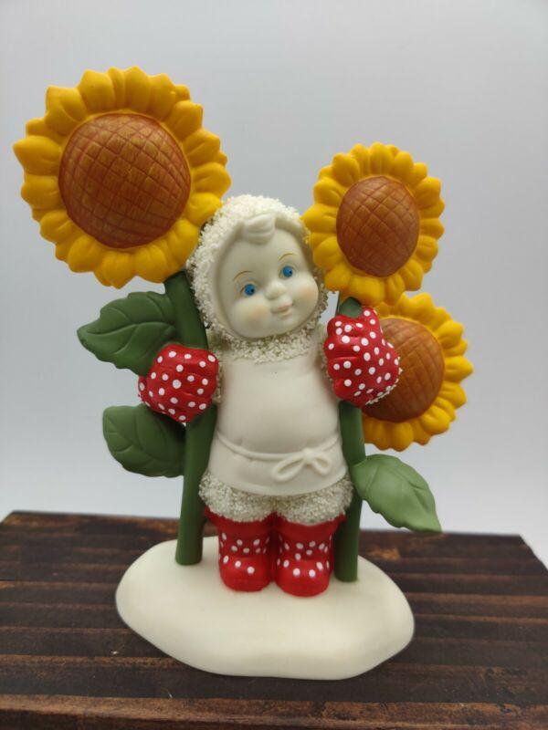 "Dept 56 SNOWBABIES 2004 ""SOAKING UP SUNSHINE"" Figurine Sunflowers Gardening"