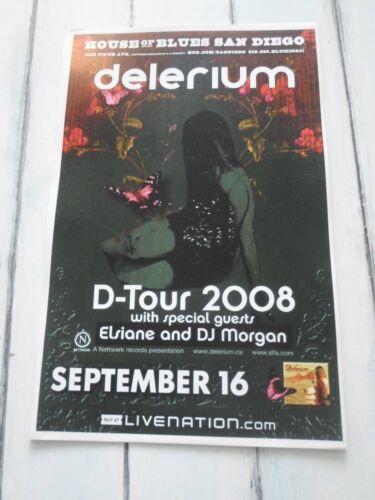 """DELERIUM Concert Poster D-TOUR San Diego HOUSE BLUES 11""""x17"""""""