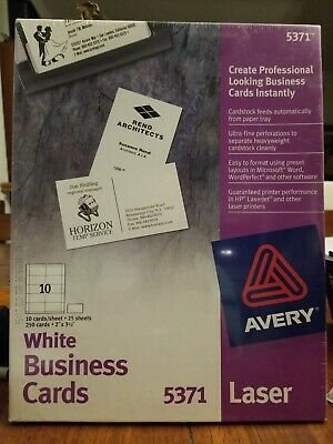 Printable Business Cards Laser Printers 250 Cards 2 X 3.5 5371 White