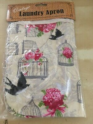 Ivory Vintage Floral Laundry Apron Bird Cage Design & pink Flowers NEW