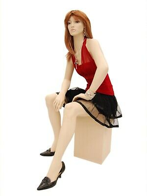 Adult Sitting Realistic Face Fiberglass Female Mannequin With Stool Wig