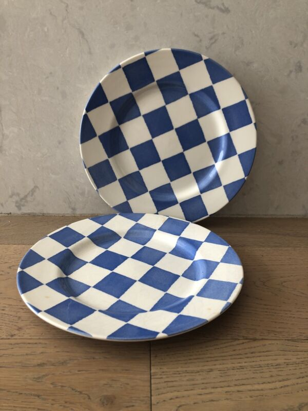Royal Stafford Fine Earthenware 2 dinner plates Blue Checks Checkered