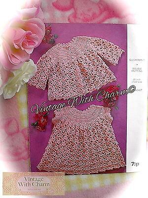 (Vintage Crochet Pattern Baby's Special Coat & Dress Set. So Sweet! FREE P&P!!! )