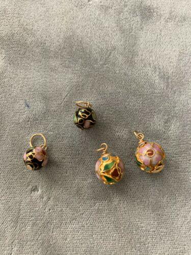 4 Gold Cloisonné Flower Beads 2 Different Designs