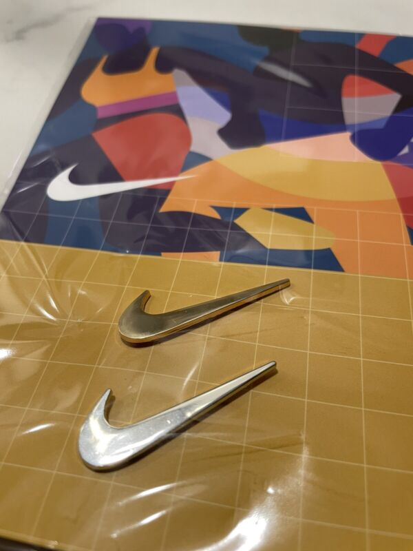 Official NIKE Logo SWOOSH Check Sneakers Label - Silver Gold PIN Set of 2 Badge