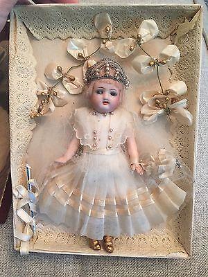 """Antique All Original 7.5"""" Mignonette Doll In Presentation Box Flapper Bride"""