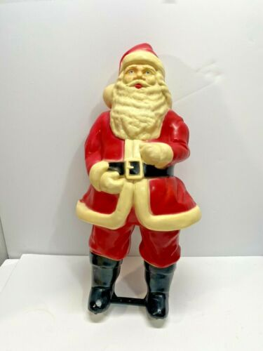 """Blow Mold Christmas Santa Claus Decoration Vintage Early Small 17"""""""