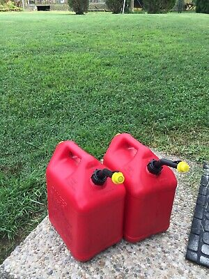 Vintage Blitz 5 Gallon Red Plastic Gas Cans Vented Pair