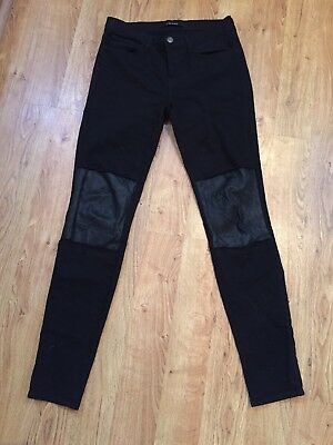 J Brand NEW! RARE!! Women's Black Vicious Skinny Jeans w/ Leather Knees 27 NWOT!