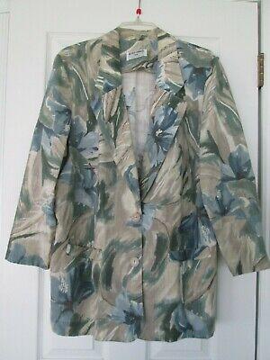 Alfred Dunner Beige Blue Green White Foral 2 Button Blazer Jacket Size 16W EUC