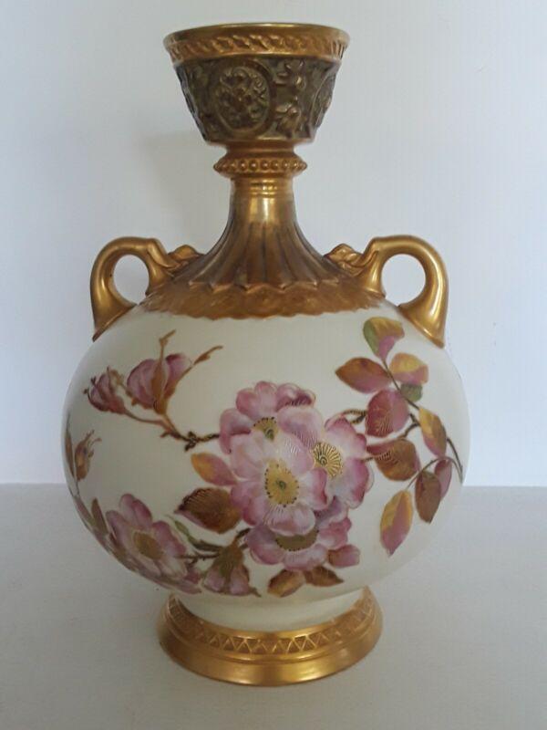 """ATQ Victorian 1851 Royal Worcester Urn 9.5"""" Vase Dogwood Floral Gold Gilt GREAT!"""