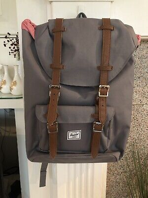 Herschel Little America Mid-Volume Gray Grey Tan Synthetic Leather Backpack