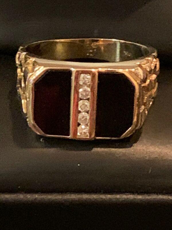 Men's 14kt. Yellow Gold Onyx & Diamond Nugget Ring Size: 9