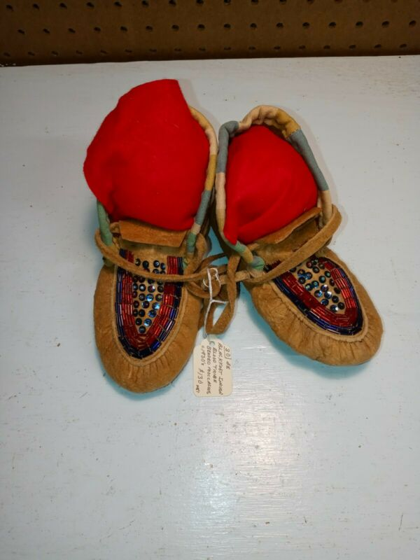 Black Foot Indian Blood Tribe Beaded Moccasins 1940s
