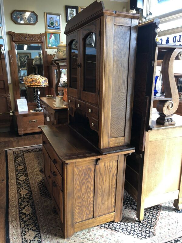 "ANTIQUE CIRCA 1915 ""BOONE"" OAK 2 pc KITCHEN CABINET LEBANON, TN."
